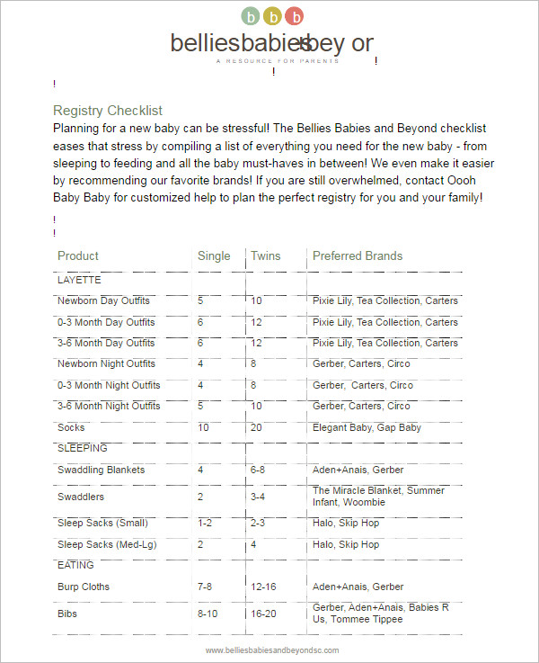 Baby Registry Checklist Editable Template ...  Editable Checklist Template