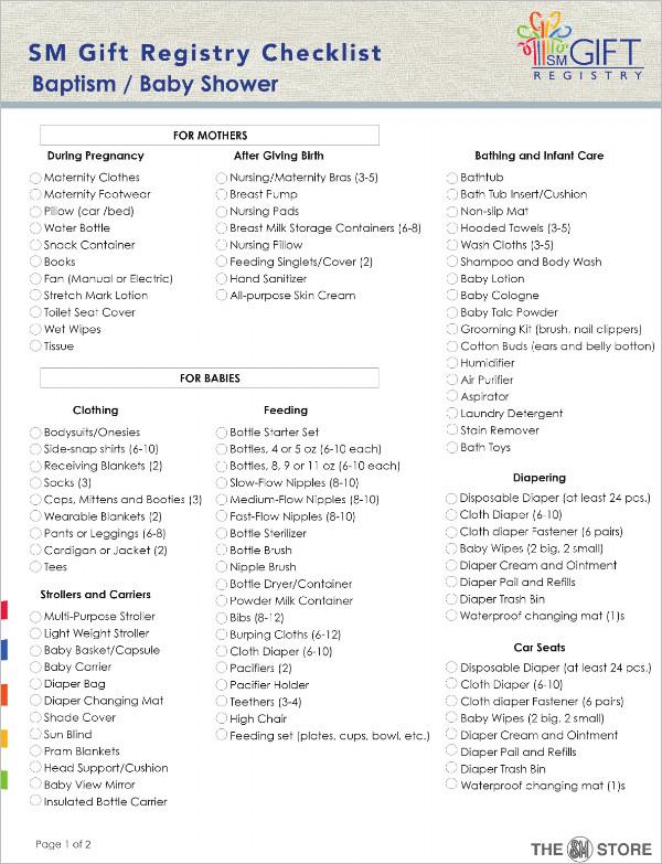 Baby Shower Gift Registry Checklist Template