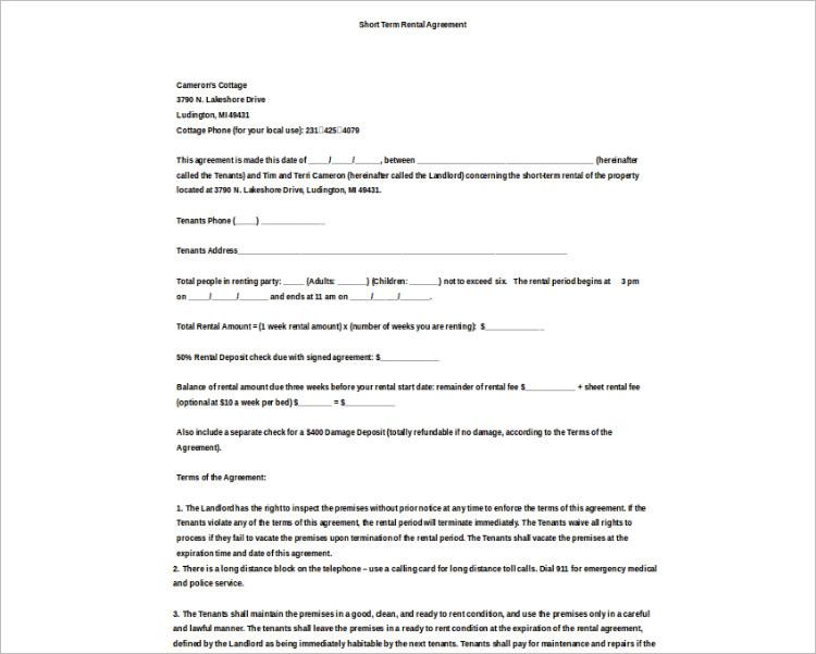 Basic Rental agreement Template Model