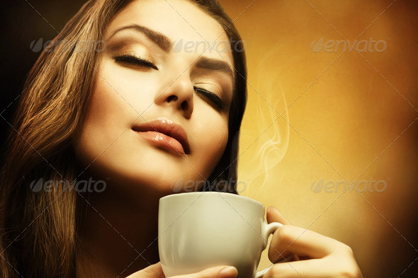 Beautiful Woman Drinking Coffee Realistic Image