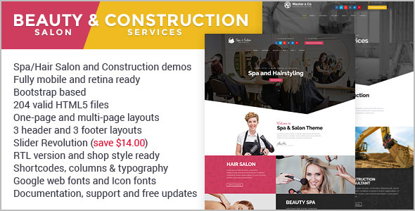Beauty Services HTML Grid Layout Template