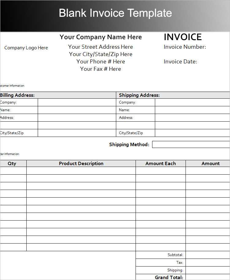 Blank Invoice Template PDF Word