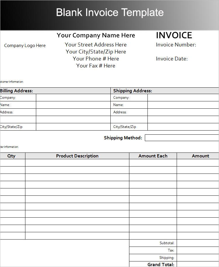 Blank Invoice Template PDF Word