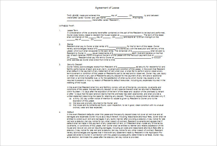 Blank LeaseAgreement Template Form