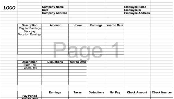 Blank Pay Stub Template for MS Excel