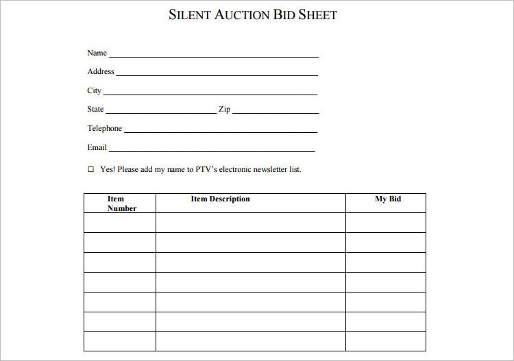 silent auction bidding sheet template