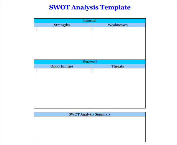 Swot Analysis Template  Free Word Pdf Sample  Creative Template