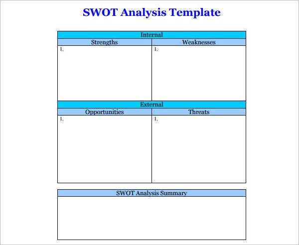 Blank swot Analysis Template PDF Form