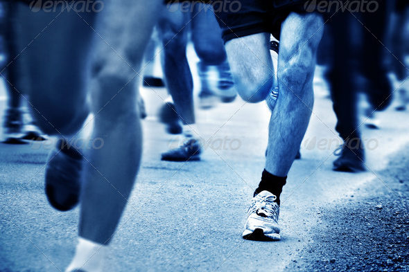 Blue shded Marathon runners picture