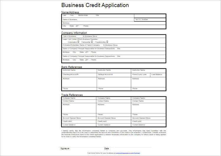 Business Credit Application Templates