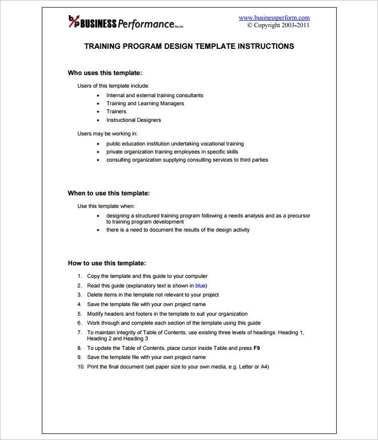 Business Program Word Template