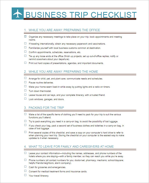 Checklist Template - Free Word, Pdf Documents Download | Creative