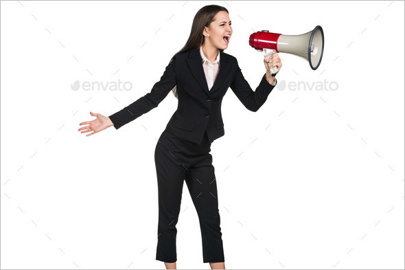 Business woman screams with devil reflection