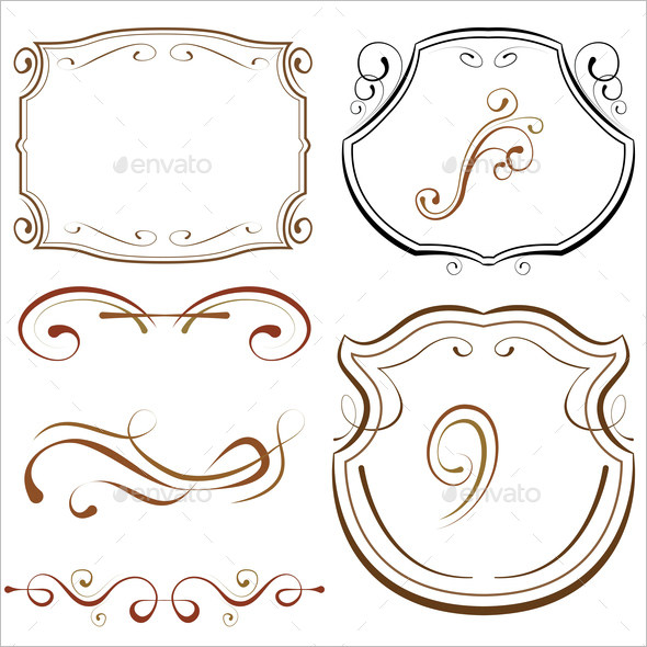 Calligraphic Decorative Borders and Frames Elements for Design