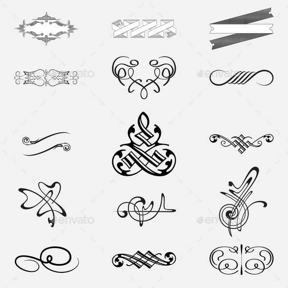 Hand drawn vintage elements, calligraphic design set