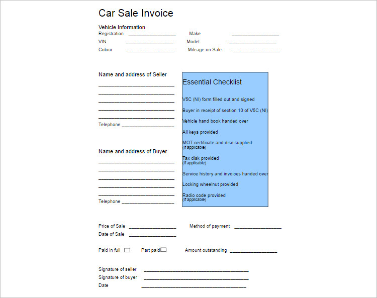 Car Sale Invoice Receipet Template Form