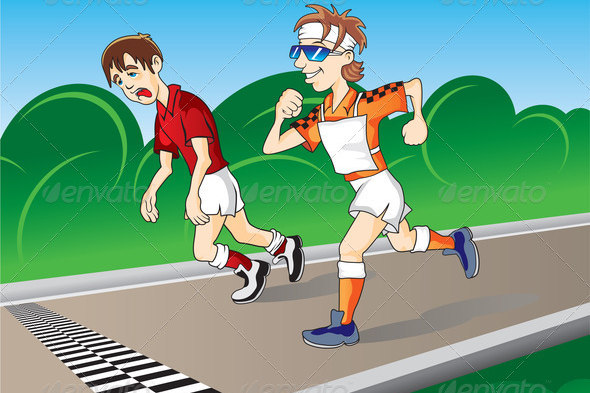 Cartoon Illustration of Marathon Runners at Finishing Line for Designs