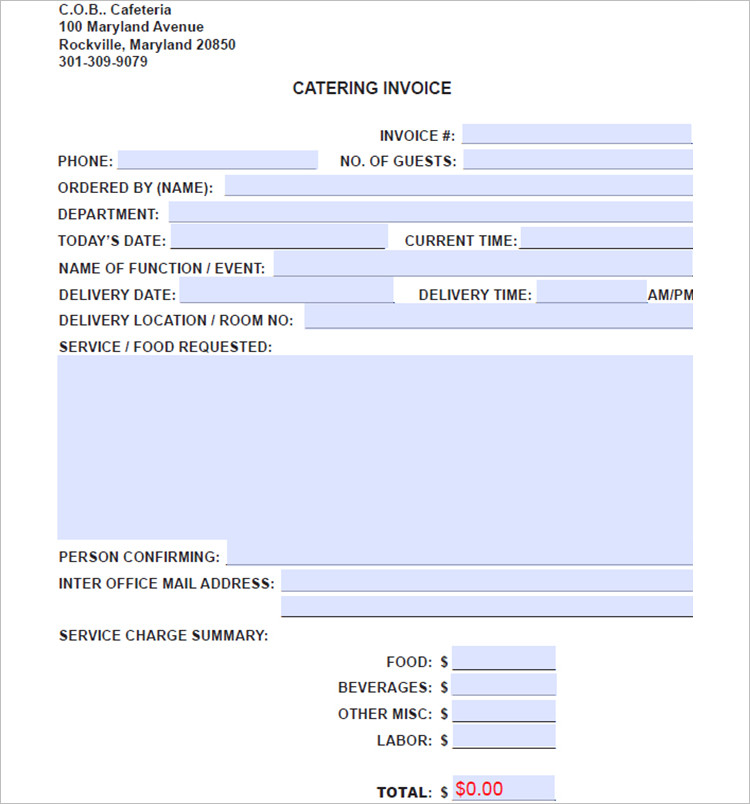 Catering Invoice Template Word PDF