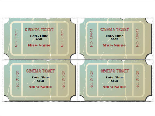Cinema ShowTime Ticket Template