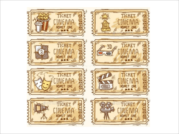 Cinema Ticket Set Template Form