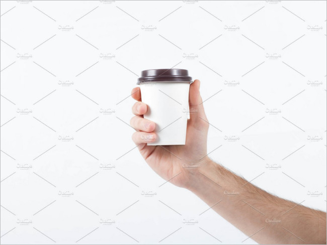 Coffee Paper Cup Holding Mockup