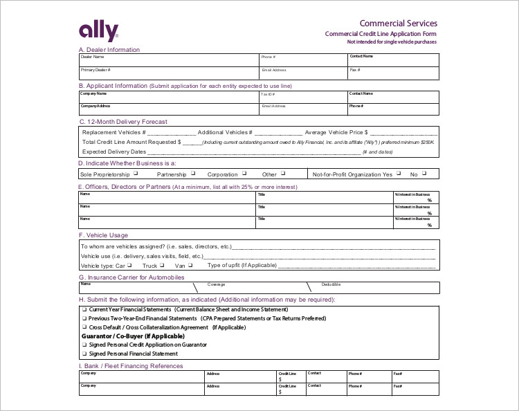 Commercial Credit Services Application Templates