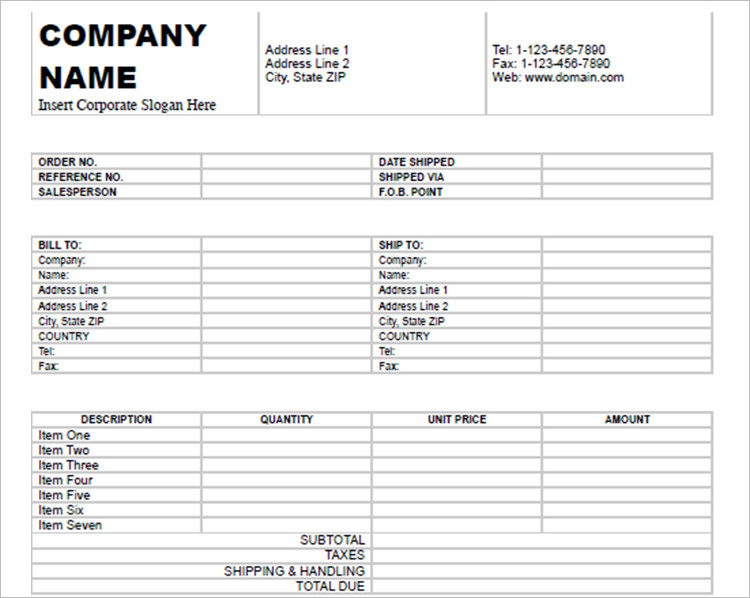 Commercial Invoice Template Form