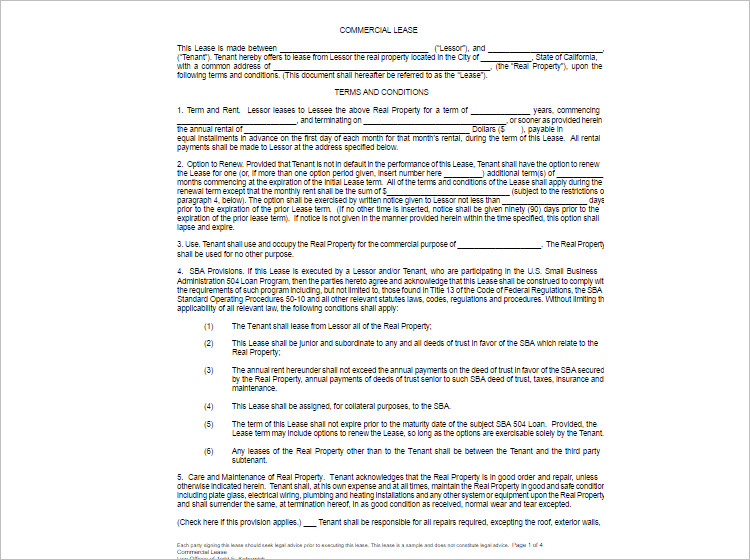 Lease Agreement Template Free Word PDF Documents – Agreement Template Word
