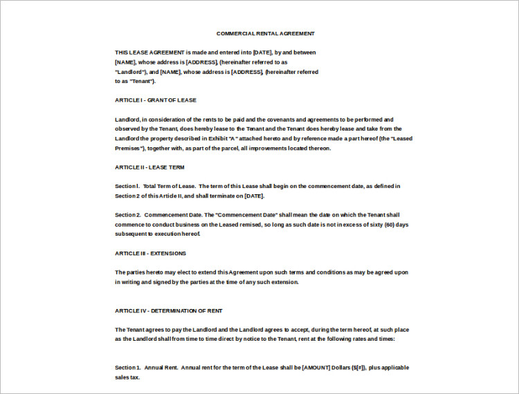 Commercial Rental Agreement Excel Template