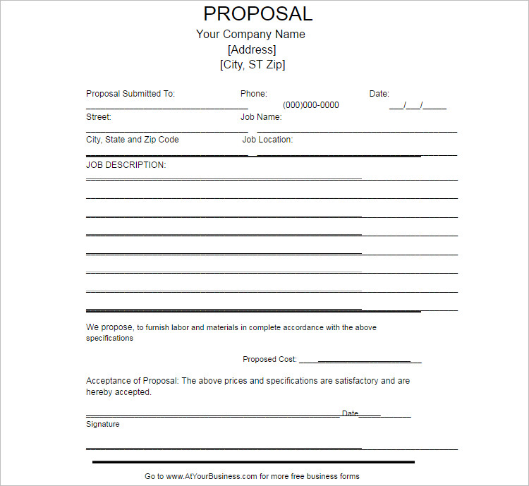 Job Proposal Templates Free Word Form Documents – Proposal Template