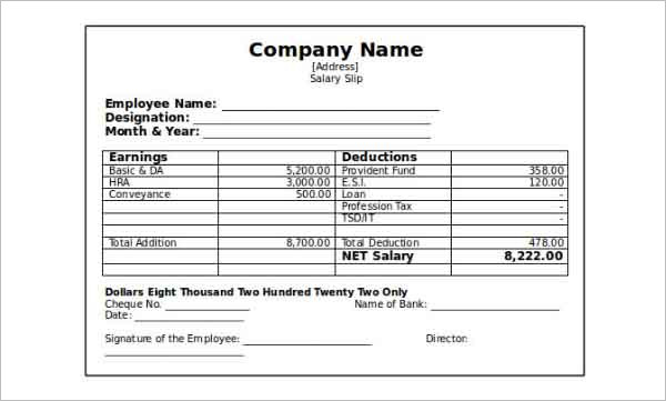 Company Paystub Salary Slip Template Free Word Format
