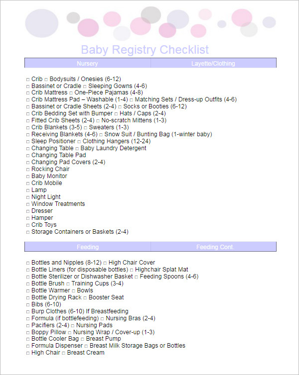 Complete Baby Registry Checklists Template