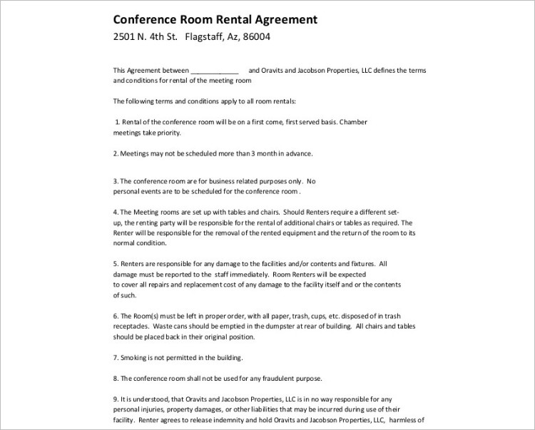 Conference Room rental Agreement Template