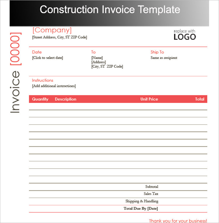 Construction Invoice Template Form