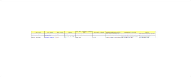 Contacts Spreadsheet Template Document