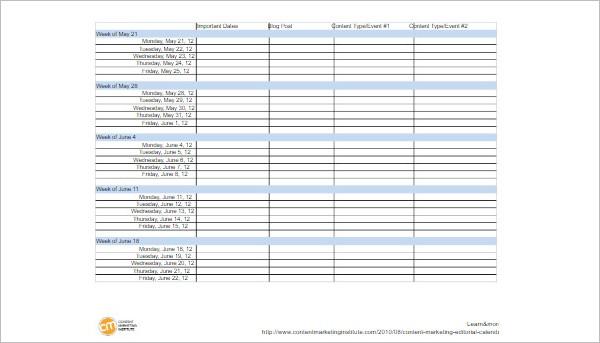 Content Calendar Template Format