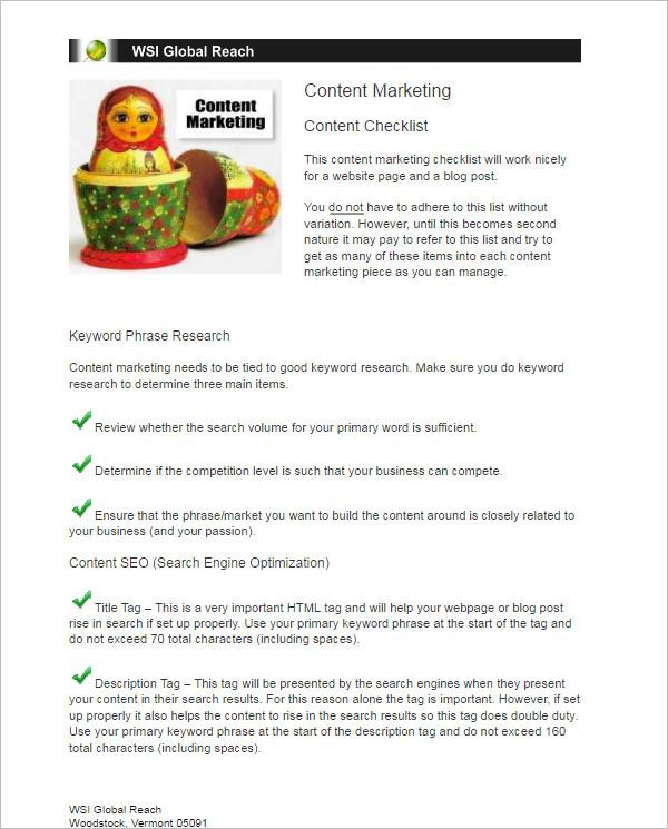 Content Marketing Checklist Template
