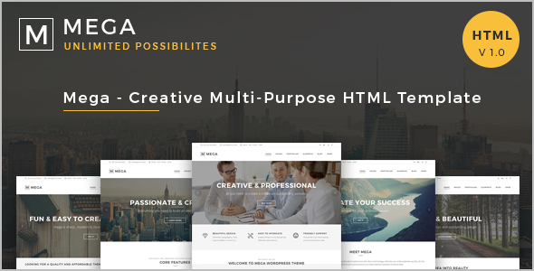 Corporate Mega menu HTML 5 Template