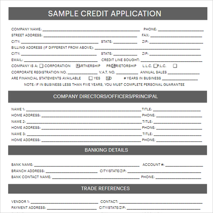 Credit Card Application Form Template