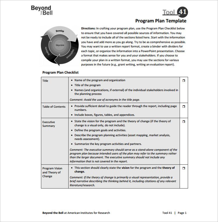 Customize Program Template Excel Form