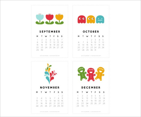 Cute Calander PDF Template Form