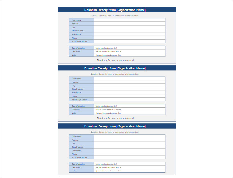 Donation Receipt Organization Template Form