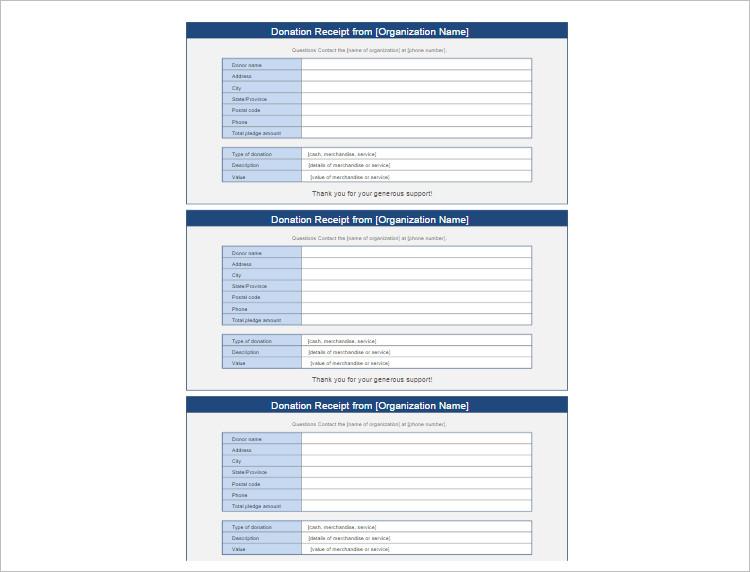 Donation Receipt Organization Template Form