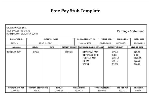 Payroll check stub template