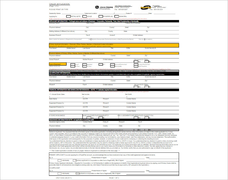 Download Credit Application Template Form