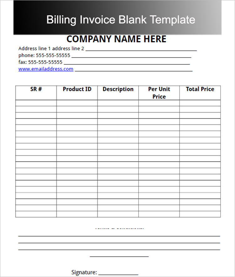 Download Invoice Template Document PDF