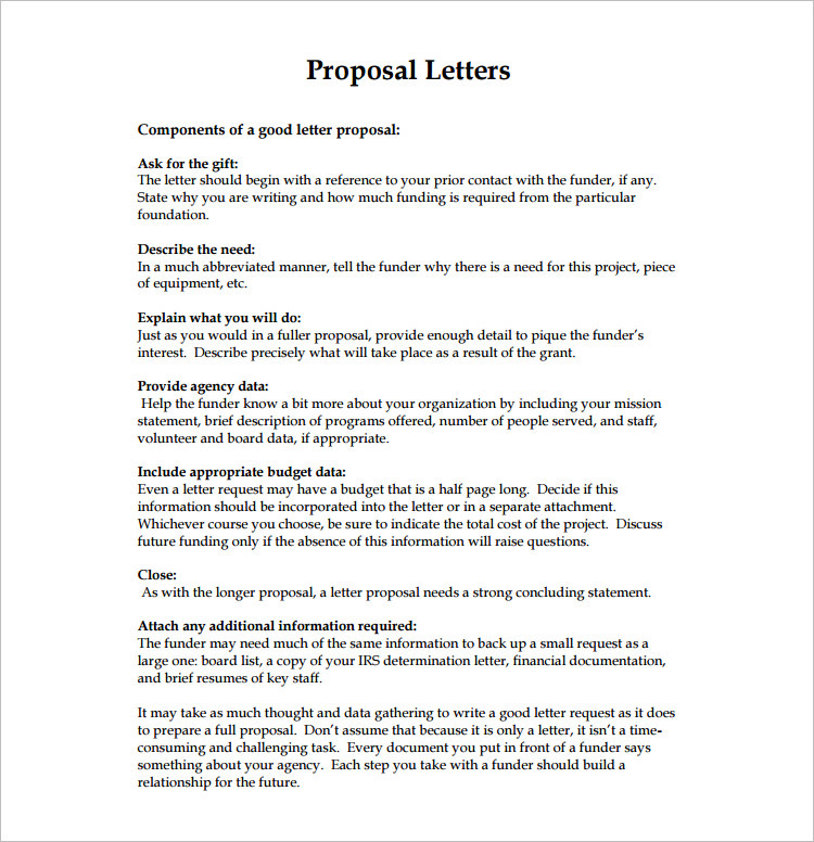 Proposal Letter Templates  Free Word Excel Format  Creative