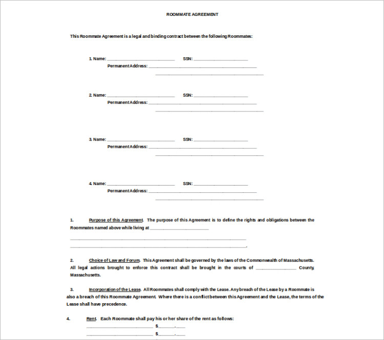 Room Rental Agreement Template - Free Word, Form, Documents