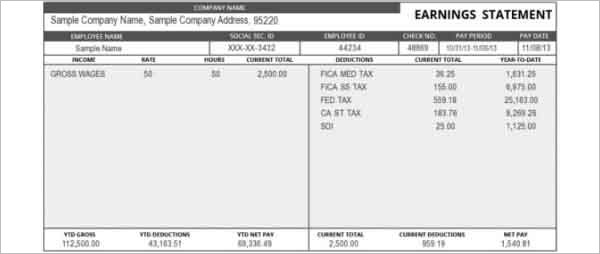 Earning Statement Pay Stub Template Online