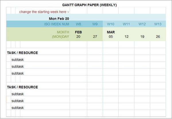 Editable Gantt Chart Word Excel Template